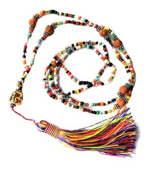 Happy Buddha Beads with Rudraksha - Colorful