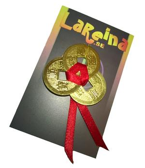 3 Chinese Lucky Coins - Red Feng Shui Knot, Golden
