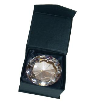 Glass Crystal Diamond - Paperweight in Black Box, Clear 62x40mm