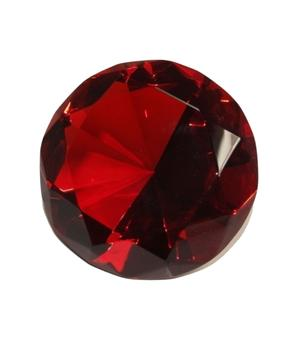Glass Crystal Diamond - Paperweight in Black Box, Red 60x40mm