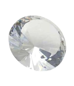Glass Crystal Diamond - Paperweight in Organza Bag, Clear 40x25mm