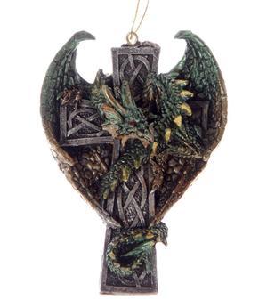 Hanger - Dark Legends Celtic Cross GREEN Dragon