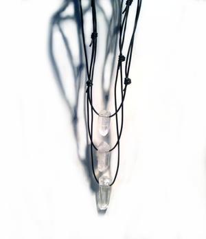 Gemstone Pendant Necklace - Raw Clear Quartz Point
