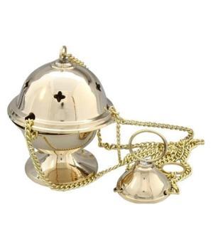 Charcoal Burner - Thurible Hanging Brass Censer, Golden Mini