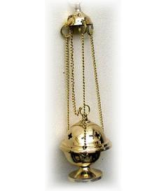 Charcoal Burner - Thurible Hanging Brass Censer, Golden Mini