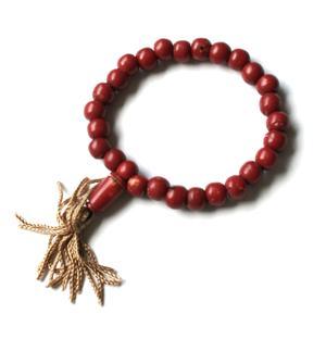 Buddhist Stretchy Wrist Mala BRACELET - Bone Red