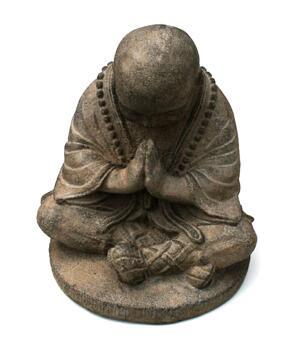 Shaolin Zen Buddha - Grey Stone Statue 15cm