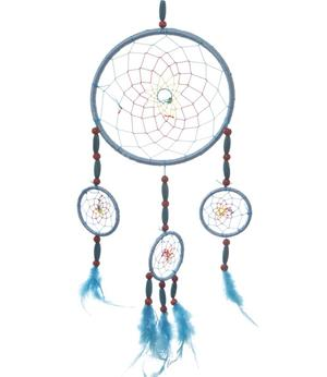 Dreamcatcher Multi 4 Chunky Wood Beads - Turquoise 16cm