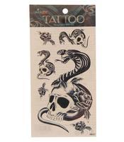 Temporary Skin Art Tattoo - Black Snake Skull