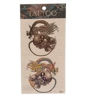 Temporary Skin Art Tattoo - Colorful Dragon Skull