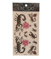 Temporary Skin Art Tattoo - Colorful Rose Scorpio
