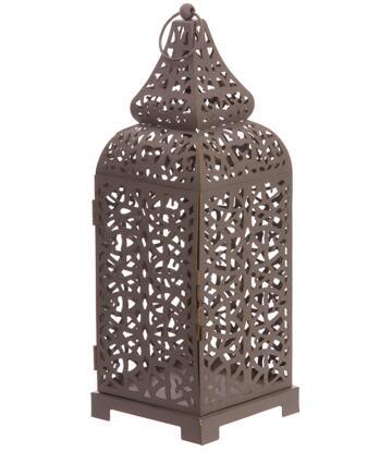 Moroccan Style Metal Lantern - Grey