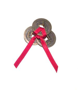Chinese Lucky Coins with Red Satin Ribbon - Do-It-Yourself-Set