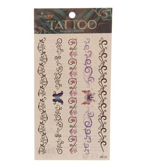 Temporary Skin Art Tattoo - Black n'  Colorful Tribals