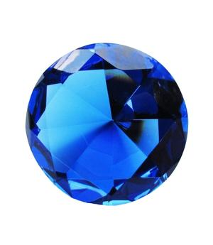 Glass Crystal Diamond - Paperweight in Organza Bag, Blue 40x25mm