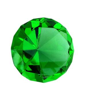 Glass Crystal Diamond - Paperweight in Organza Bag, Green 40x25mm