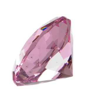 Glass Crystal Diamond - Paperweight in Organza Bag, Pink 40x25mm
