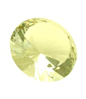 Glass Crystal Diamond - Paperweight in Organza Bag, Yellow 40x25mm