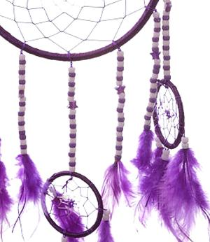 Dreamcatcher Multi 4 Beads and Stars - Purple 16cm