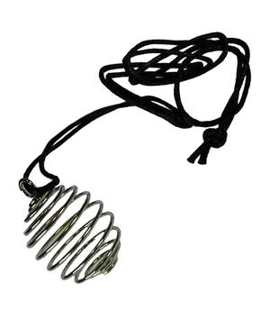 Tumblestone Spiral Metal Plated Cage Necklace - Cotton Cord Hold