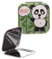 Square Compact Mirror - Dark Green Panda