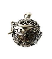 Silver Pendant Vintage Locket - Bola with Cotton Cord