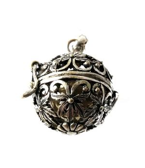 Silver Pendant Vintage Locket - Bola with Silver Chain