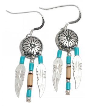 Native American Navajo Jewelry - Silver Medicine Shield Earrings 10mm