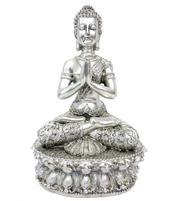 Amitabha Tibetan Buddha - Silvery Anjali Mudra 35cm