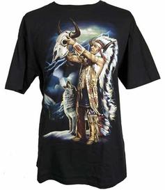 T-shirt - Indian Chief with Buffalo Skull