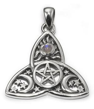 Silver Pendant - Cosmic Triquetra with Moonstone