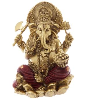 Hindu Statue - Golden Ganesh on Lotus 16cm