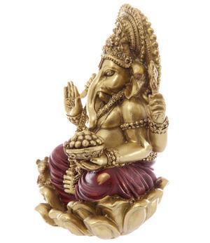 Hindu Statue - Golden Ganesh on Lotus 16cm