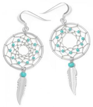 Native American Navajo Jewelry - Silver Dreamcatcher Earrings 26mm