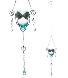 Hanging Metal & Glass Tealight Holder with Bow - Blue