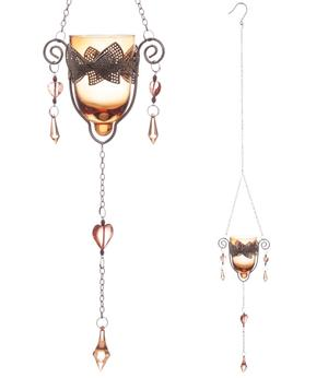 Hanging Metal & Glass Tealight Holder with Bow - Brown