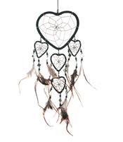 Dreamcatcher Multi 5 Heart Mirror - Black 12cm