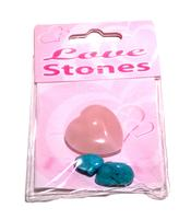 Love Stones - Rose Quartz Heart and Turquentine with Velvet Pouch