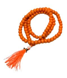 Buddhist Mala Prayer Beads - Wood Orange