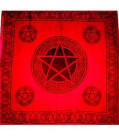 Tarot Cloth Bandana Scarf - Pentagram, red 100x100cm