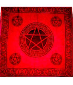Tarot Cloth Bandana Scarf - Pentagram, red 100x100cm
