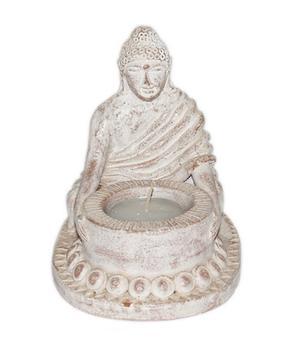 Amitabha Buddha - Whitewashed Terracotta Tealight Holder