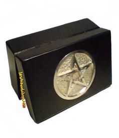 Wooden Tarot Box - Black Pentagram