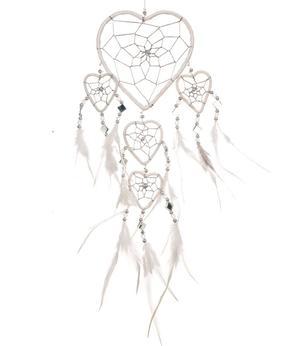 Dreamcatcher Multi 5 Heart Mirror - White 12cm