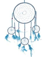 Dreamcatcher Multi 4 Beads and Stars - Turquoise 16cm