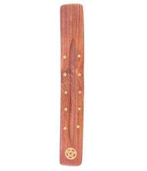 Incense Holder Wood - Pentagram