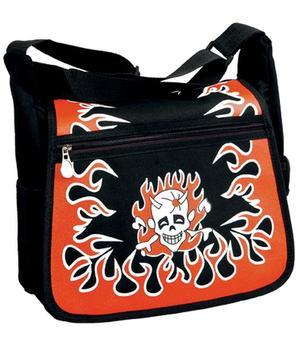 Shoulder Bag - Black with Red Flames
