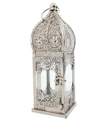 Moroccan Style Metal Lantern - Silvery