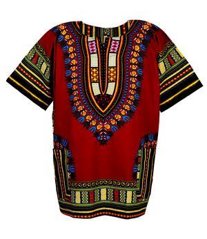 Short Sleeve Dashiki Yamado Shirt - Wine Red