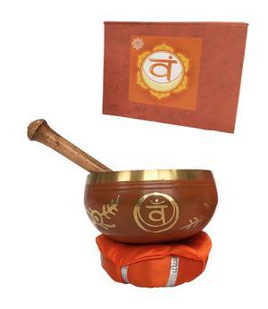 Tibetan Singing Bowl in Gift Box - Orange Svadhisthana 12cm